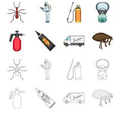 Flea special car and equipment cartoonoutline vector