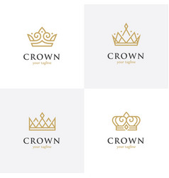 Four linear crown icons vector
