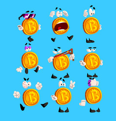 Funny bitcoin character sett crypto currency vector