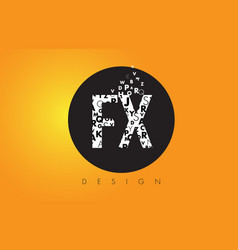 Fx f x logo made of small letters with black vector