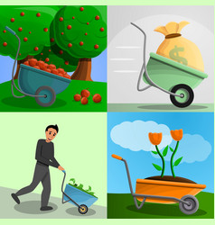 Garden wheelbarrow banner set cartoon style vector