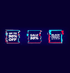 Glitch sale banner set square shapes with glitch vector