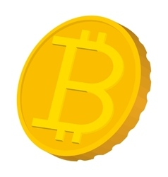 Gold coin with Bitcoin sign icon carton style vector