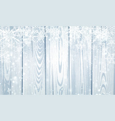 grey wooden winter poster with white snowflakes vector image