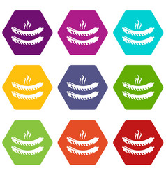 grilled sausages icons set 9 vector image
