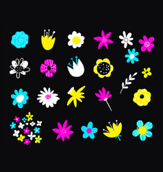 hand drawn colorful blooming flowers botanical vector image