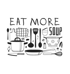 Hand drawn cooking tools dishes food and quote vector