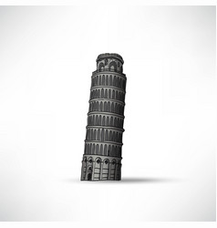 Hand sketch leaning tower of pisa vector