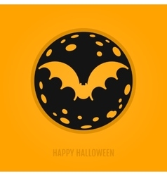 Happy halloween concept with bat and moon vector image