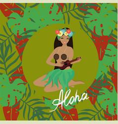 hawaiian girl plays ukulele guitar and sings vector image