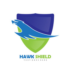 hawk bird shield logo vector image