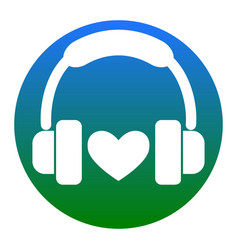 headphones with heart white icon in vector image