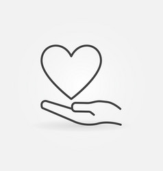 heart and hand thin line minimal icon vector image