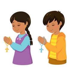 Hispanic kids praying vector