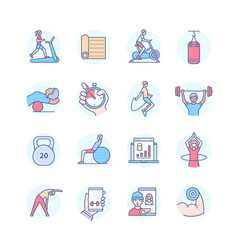 home fitness - modern line design style icons set vector image