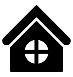 House with round window flat icon vector
