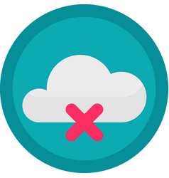 icon of a no connection to cloud on button vector image
