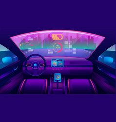 inside view on futuristic self-driving car salon vector image