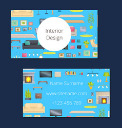 interior design card blue vector image