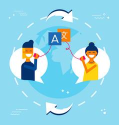 International friends translating chat online vector