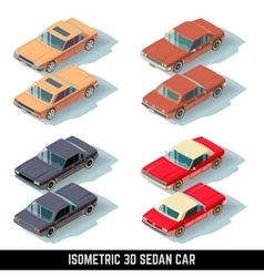 Isometric 3D sedan car city transport vector