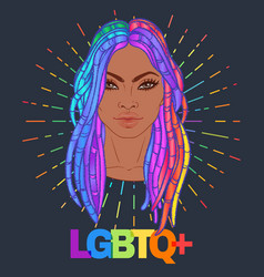 Lgbt person with rainbow hair african american vector