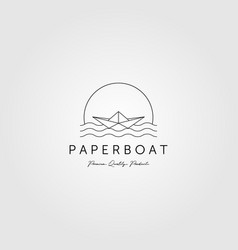 Line art paper boat logo minimalist emblem design vector