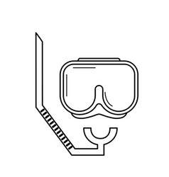 line diving mask to be underwater adventure vector image