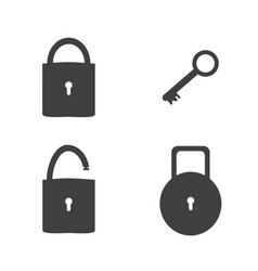 lock and key sign icon set security concept vector image