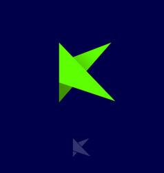logo k origami monogram green bended vector image