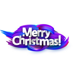 merry christmas festive background with blue brush vector image