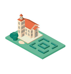 Mini tree and castle building isometric vector