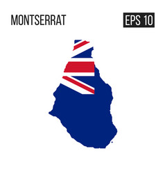 Montserrat map border with flag eps10 vector