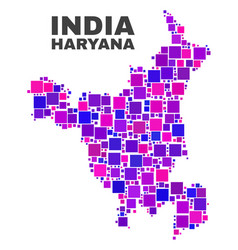 Mosaic haryana state map of square items vector
