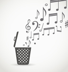 Notes flowing into a garbage basket vector