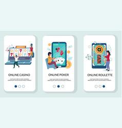 online casino mobile app onboarding screens vector image
