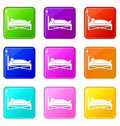 Patient in bed in hospital icons 9 set vector