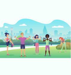 people in the public park doing fitness sports vector image