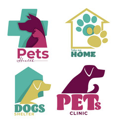 Pets health veterinary clinic and dogs shelter vector