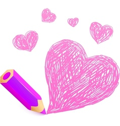 Pink cartoon pencil with doodle heart vector image