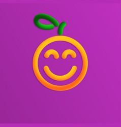 plastic orange with smile in 3d style vector image