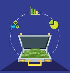 portfolio with bills dollars and set icons economy vector image