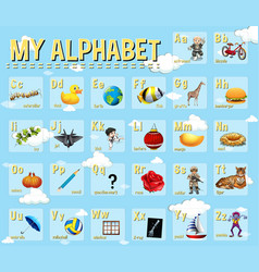 Poster design for english alphabets vector