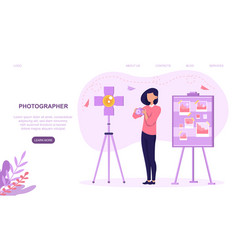 professional female photographer during workshop vector image