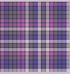Purple pixel plaid fabric texture seamless pattern vector