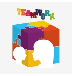 puzzle head teamwork support design vector image