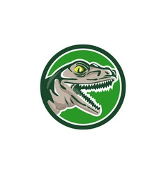 Raptor Head Side Circle Retro vector