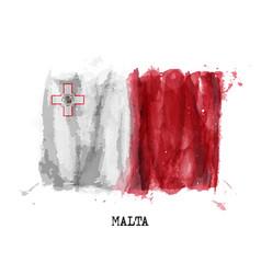 Realistic watercolor painting flag malta vector