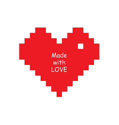 red heart icon in pixel style on white background vector image