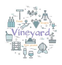 Round concept vineyard vector